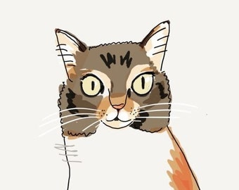 Custom illustration for your cats, your pets. Personalized gift, digital art