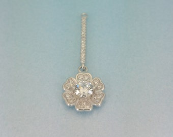 Sterling Silver CZ flower Charm. 925 Sterling Silver micro pave cz flower charm. Perfect for necklace. Truly Beautiful.