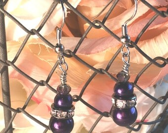 Dark Purple Pearl Drop Earrings with Silver Rhinestone accents-Fall Bridesmaids Sets