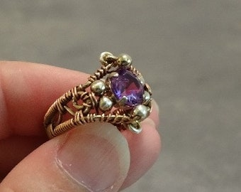 Copper and Lab Alexandrite Ring