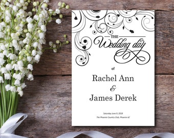 Wedding Program, White, Kraft Paper, Rustic Program, Luxury Ceremony, DIY Program, EDITABLE PDF, Template, Printable Instant Download E18A