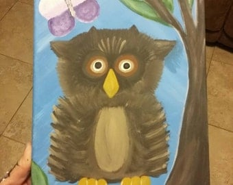 Cute owl and butterfly! 8x10