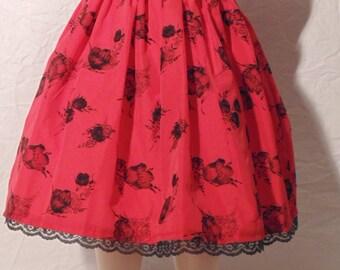 Red & Black Velvet Lace Dress
