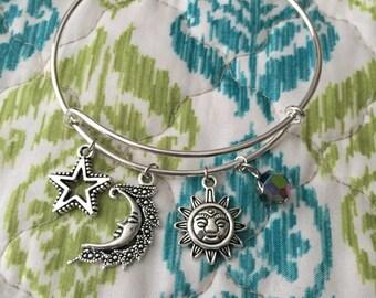 Silver celestial bangle bracelet