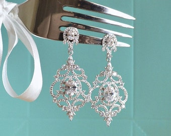 Art Deco Wedding Earrings. Victorian Style Dangle Wedding Earrings. Vintage Bridal Earrings. Crystal CZ Chandelier Wedding Earrings.