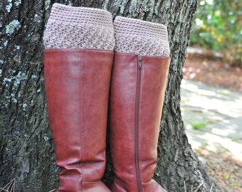 Crochet Boot Cuff,Boot Cuff,Khaki color Boot Cuff,Acrylic. MADE IN USA!