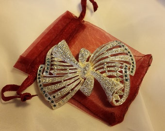 NAPIER BROOCH SILVER Bow Brooch - blue and white rhinestones