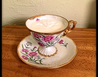 Tea Cup Candle with Saucer made from 100% soy wax