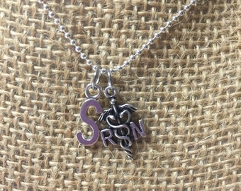 RN Necklace, Initial Necklace, Registered Nurse Gift, Customized Necklace, Medical Neclace