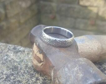Mens Hammered Finish Titanium Wedding Ring