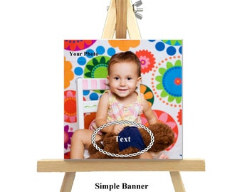 12cm x 12cm Personalized Canvas with Easel - Banners