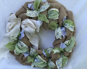 Country cottage green ribbon and burlap wreath