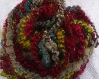 hand spun art yarn,  mohair, corespun, 'Moss'  29m, 118g