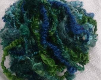 hand spun art yarn,  mohair, 'Tuffley' - lockspun, 17.5m, 90g