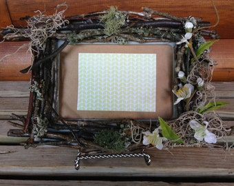 """Rustic twig 4"""" x 6"""" wooden picture frame"""