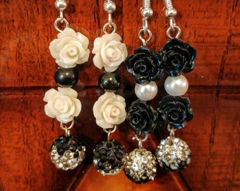 Black and White Rose Earrings