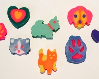 Vintage 1990's Lisa Frank Cats & Dogs Eraser Set
