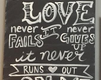 Your Love Faux Chalk Art Canvas
