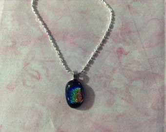 Dichroic pendant on a sterling silver chain