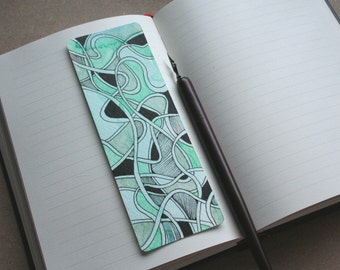 Bookmarks personalized with your name: green, grey and black