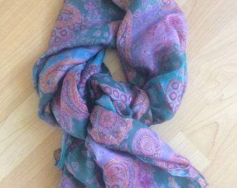 Bohemian Paisley print silk scarf
