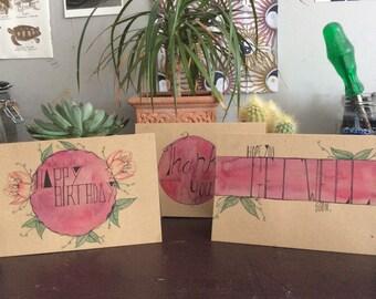 Handmade cards,set of three