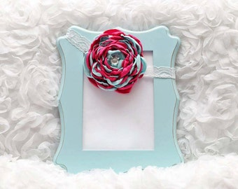 Pink/Mint Satin Flower Headband, Flower Headband, Satin Flower, Hair Accessory, Baby/Girl Flower Headband, Ready to Ship