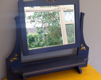 Dresser Mirror in Navy and Yellow - Freestanding