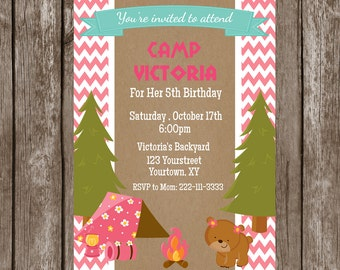 Camping Girl Birthday Party-Digital