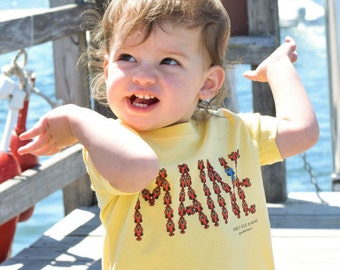 MAINE Infant Tee - Maine lobster tshirt - Maine baby tee - Lobster baby tshirt - Painted Turtle Tees - Blue Lobster - Maine Baby Gift