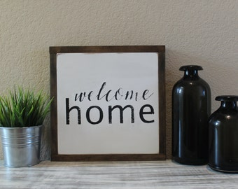 welcome home wood sign.