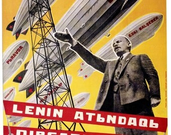 Vintage Russian Propaganda Poster Lenin Airships Retro USSR Art Print Picture A3 A4