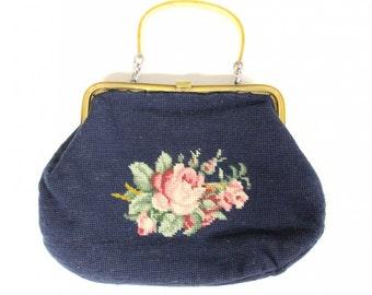 Vintage embroidered handbag with floral-Vintage fashion-handmade bag with floral pattern