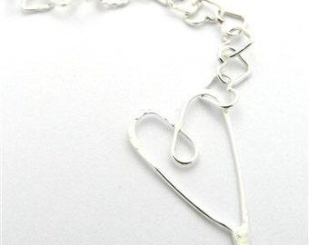 Beaten Heart Silver Bracelet
