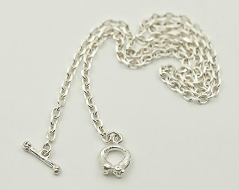 Silver Bone Necklace | Simple Silver Chain | Plain Silver Chain | Layering Necklace | Everyday Necklace | 925 Sterling Silver Necklace Basic