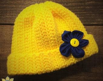 Crocheted Childrens Hat - Flower