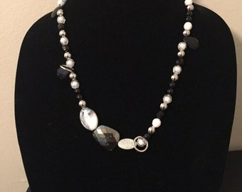 Black, white and silver beaded necklace