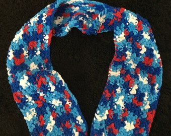 Red White and Blue Double Crochet Scarf