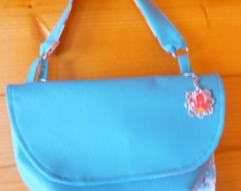 Small bag double Cove, blue leather