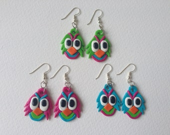 Clay owl earrings