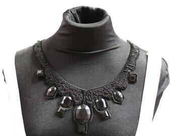 Black Angular Beaded Fashion Collar - JR09285