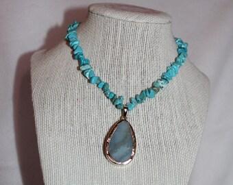 Blue Bead/Gem Stretch Necklace