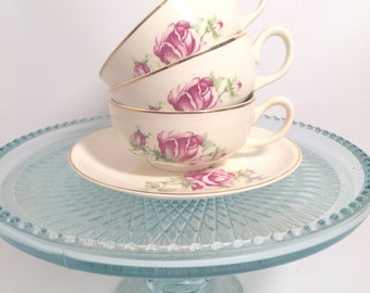 6 piece teacup set and saucers vintage rose