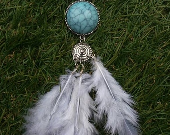 Handmade turquoise pendant necklace with feather detail
