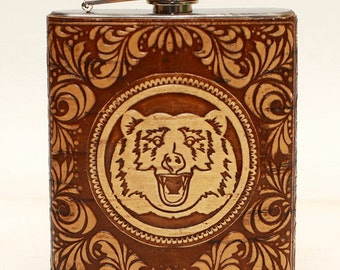 Stainless Steel Flask, finishing with birch bark.