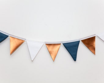 Copper, White and Blue Flag Bunting