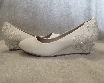 Wedding shoes-White Lace Wedge Heels