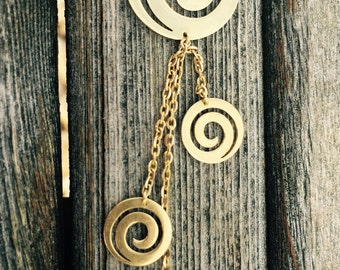18K Gold Spirals Necklace and Earrings