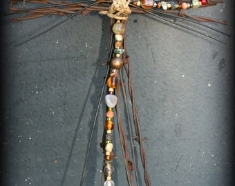 Rusted Barbed Wire Beaded Cross (LG0004)