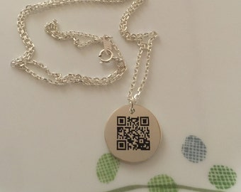 Lovely Voice Necklace with Dynamic QR Code,Personalize,Customize,Unique,Necklace for Only You,Dynamic QR Code Necklace with Sterling Silver